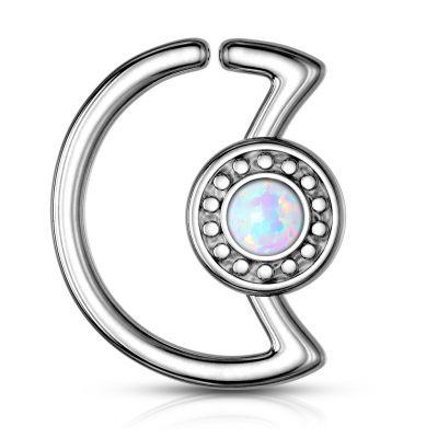 Maanvormige ring met opaalsteen