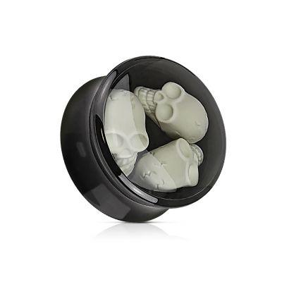 Plug van acryl met drie skulls