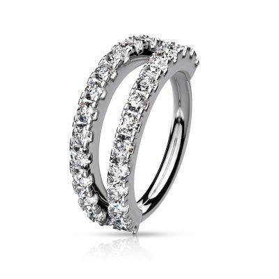 Ring met dubbele split rij stenen