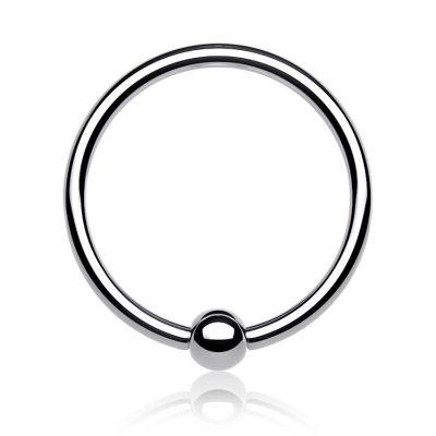 Titanium ring met vaste bal
