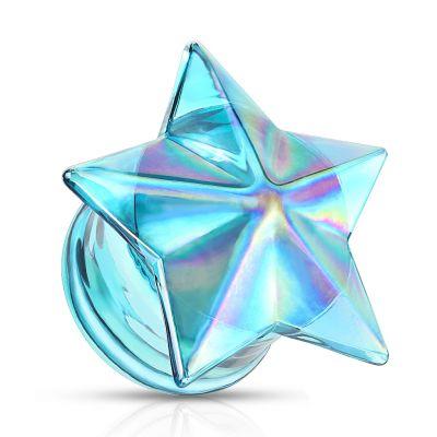 Plug uit glas met blauwe ster