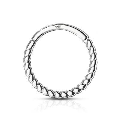 Ring uit 14 karaats goud met scharnier en gedraaide draad