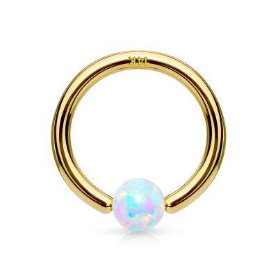 Ballclosure ring uit 14 karaats goud met vaste opaalsteen