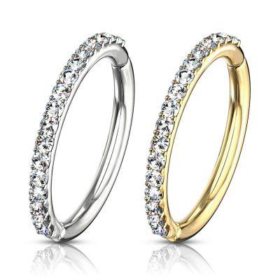 Ring van 14 karaats goud met steentjes en scharnier