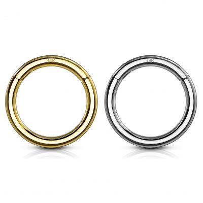 Segment ring van 14 karaats goud met scharnier