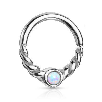 Ring met gedraaide halve cirkel en steen