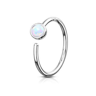 Simpele gesloten ring van 14 karaats goud met opaalsteen