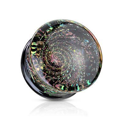 Plug van glas met een sterrenstelsel