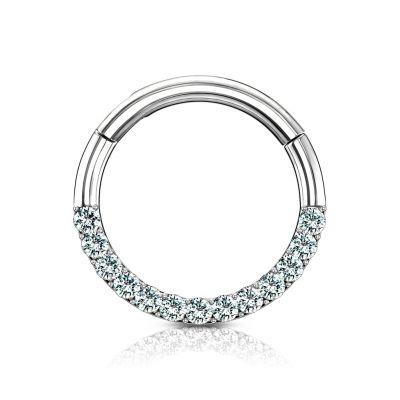 Ring van 14 karaats goud met steen bezette half cirkel en scharnier