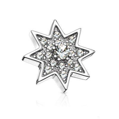 Vallende ster voor dermal anchor met grote centrumsteen