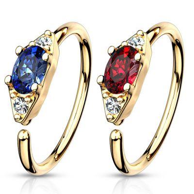 Ring met ovalen steen in verschillende kleuren