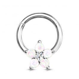 Ring met scharnier en bloem uit opalen